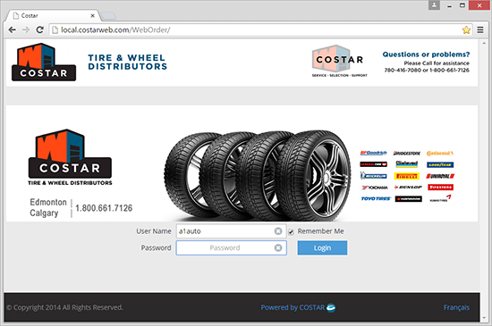 B2B Tire Wholesale website